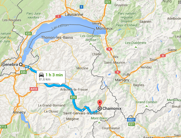 mapa de genebra chamonix